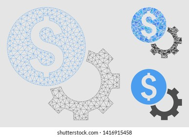 Mesh development cost model with triangle mosaic icon. Wire carcass triangular mesh of development cost. Vector mosaic of triangle parts in variable sizes and color hues.