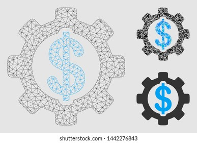 Mesh development cost model with triangle mosaic icon. Wire frame triangular mesh of development cost. Vector mosaic of triangle parts in variable sizes and color shades.
