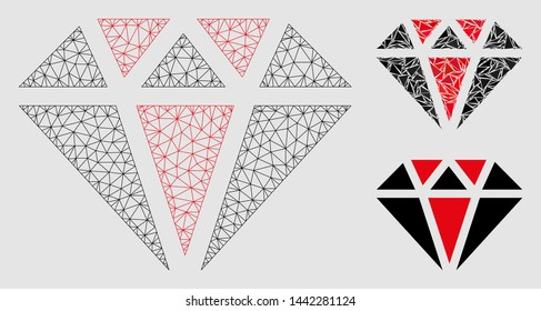 Mesh diamond model with triangle mosaic icon. Wire frame triangular mesh of diamond. Vector composition of triangle elements in variable sizes and color shades.