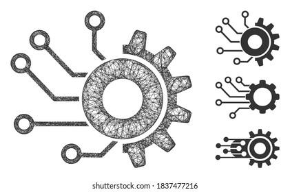 Mesh digital mechanics polygonal web icon vector illustration. Model is created from digital mechanics flat icon. Triangular net forms abstract digital mechanics flat model.
