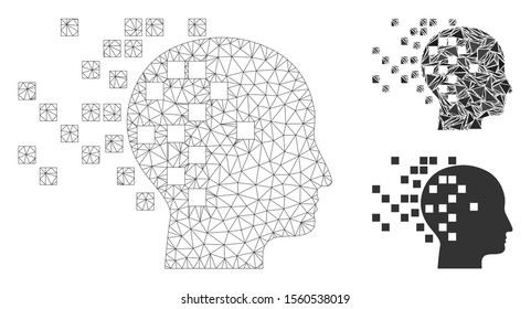 Mesh digital mind model with triangle mosaic icon. Wire carcass triangular mesh of digital mind. Vector mosaic of triangle elements in different sizes, and color tones. Abstract 2d mesh digital mind,