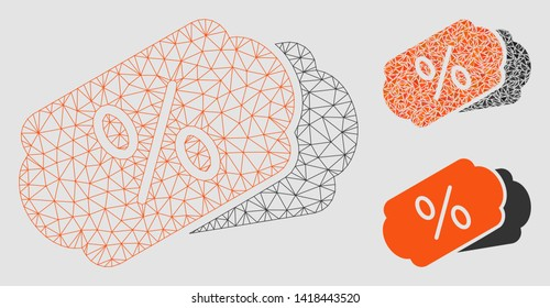 Mesh discount coupons model with triangle mosaic icon. Wire carcass triangular mesh of discount coupons. Vector mosaic of triangle elements in different sizes and color tones.