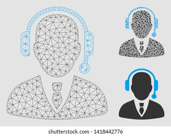 Mesh dispatcher model with triangle mosaic icon. Wire carcass triangular mesh of dispatcher. Vector mosaic of triangles in variable sizes and color shades. Abstract flat mesh dispatcher,