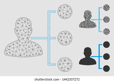 Mesh distributor model with triangle mosaic icon. Wire frame polygonal mesh of distributor. Vector mosaic of triangle parts in various sizes and color tinges. Abstract 2d mesh distributor,