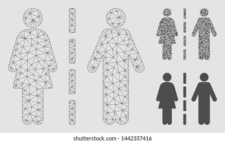 Mesh divorce line model with triangle mosaic icon. Wire frame triangular mesh of divorce line. Vector mosaic of triangle elements in variable sizes and color hues. Abstract 2d mesh divorce line,