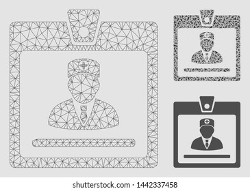 Mesh doctor badge model with triangle mosaic icon. Wire carcass triangular mesh of doctor badge. Vector composition of triangle elements in different sizes and color tones.