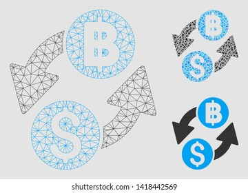 Mesh dollar baht exchange model with triangle mosaic icon. Wire frame polygonal mesh of dollar baht exchange. Vector collage of triangle elements in various sizes and color shades.
