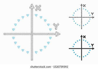 Mesh dotted circle plot model with triangle mosaic icon. Wire frame polygonal network of dotted circle plot. Vector mosaic of triangle elements in various sizes, and color tones.
