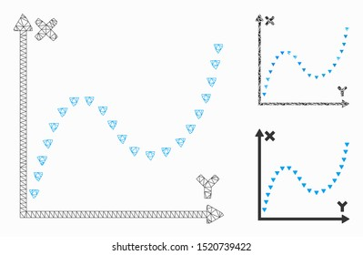 Mesh dotted function graph model with triangle mosaic icon. Wire frame polygonal network of dotted function graph. Vector mosaic of triangle elements in various sizes, and color tones.