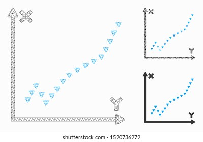 Mesh dotted function plot model with triangle mosaic icon. Wire frame triangular mesh of dotted function plot. Vector mosaic of triangle elements in different sizes, and color tints.