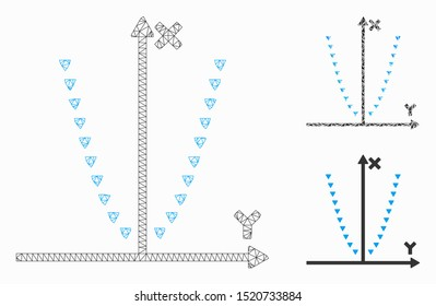Mesh dotted parabola plot model with triangle mosaic icon. Wire carcass polygonal mesh of dotted parabola plot. Vector mosaic of triangle parts in various sizes, and color hues.
