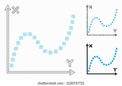 Mesh dotted plot model with triangle mosaic icon. Wire frame polygonal mesh of dotted plot. Vector composition of triangles in different sizes, and color tinges. Abstract 2d mesh dotted plot,