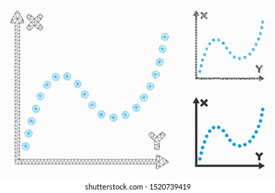 Mesh dotted plot model with triangle mosaic icon. Wire carcass polygonal mesh of dotted plot. Vector composition of triangle parts in various sizes, and color tinges. Abstract 2d mesh dotted plot,