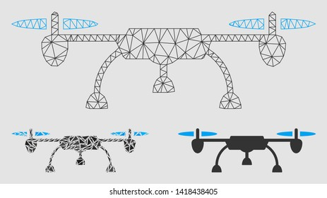 Mesh drone model with triangle mosaic icon. Wire carcass polygonal mesh of drone. Vector collage of triangle elements in variable sizes and color tints. Abstract 2d mesh drone,