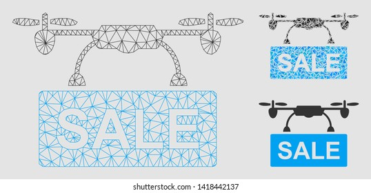 Mesh drone sale model with triangle mosaic icon. Wire frame triangular mesh of drone sale. Vector composition of triangle elements in various sizes and color tints. Abstract flat mesh drone sale,