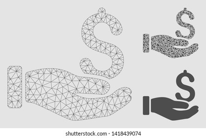 Mesh earnings hand model with triangle mosaic icon. Wire frame polygonal mesh of earnings hand. Vector mosaic of triangle elements in various sizes and color tones. Abstract 2d mesh earnings hand,
