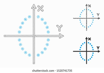 Mesh ellipse plot model with triangle mosaic icon. Wire frame polygonal mesh of ellipse plot. Vector mosaic of triangles in variable sizes, and color shades. Abstract 2d mesh ellipse plot,