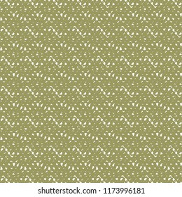 Mesh or embroidery with simple geometric elements. Green flecked decorative background with wavy and zigzag stripes. Vector illustration.