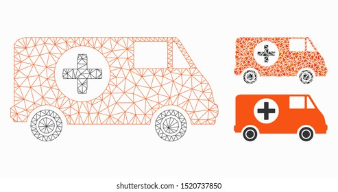 Mesh emergency car model with triangle mosaic icon. Wire frame triangular mesh of emergency car. Vector mosaic of triangles in variable sizes, and color hues. Abstract flat mesh emergency car,