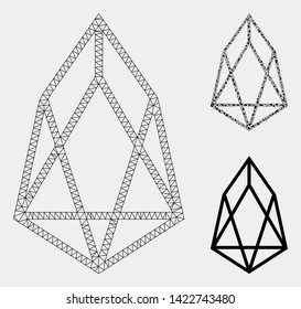 Mesh eos currency model with triangle mosaic icon. Wire frame triangular mesh of eos currency. Vector mosaic of triangles in variable sizes and color hues. Abstract flat mesh eos currency,