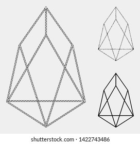 Mesh eos currency model with triangle mosaic icon. Wire frame triangular mesh of eos currency. Vector mosaic of triangle elements in variable sizes and color shades. Abstract 2d mesh eos currency,