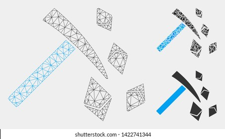 Mesh Ethereum mining hammer model with triangle mosaic icon. Wire carcass polygonal mesh of Ethereum mining hammer. Vector mosaic of triangle elements in various sizes and color tinges.