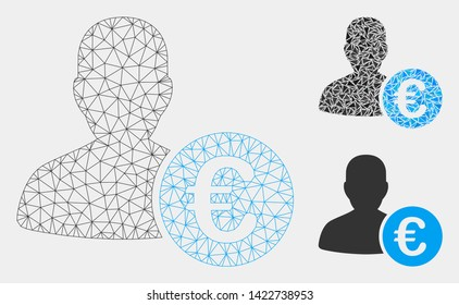 Mesh Euro banker model with triangle mosaic icon. Wire carcass triangular mesh of Euro banker. Vector collage of triangles in variable sizes and color tinges. Abstract 2d mesh Euro banker,