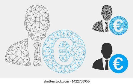 Mesh Euro banker model with triangle mosaic icon. Wire frame triangular mesh of Euro banker. Vector collage of triangle parts in different sizes and color shades. Abstract flat mesh Euro banker,