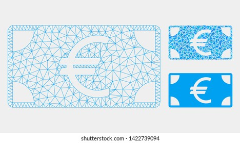 Mesh Euro banknote model with triangle mosaic icon. Wire frame triangular network of Euro banknote. Vector mosaic of triangle parts in variable sizes and color tinges. Abstract 2d mesh Euro banknote,