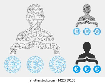 Mesh Euro capitalist model with triangle mosaic icon. Wire carcass polygonal mesh of Euro capitalist. Vector mosaic of triangle parts in various sizes and color tones.