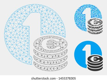 Mesh Euro coins model with triangle mosaic icon. Wire carcass triangular mesh of Euro coins. Vector composition of triangle parts in variable sizes and color tones. Abstract 2d mesh Euro coins,