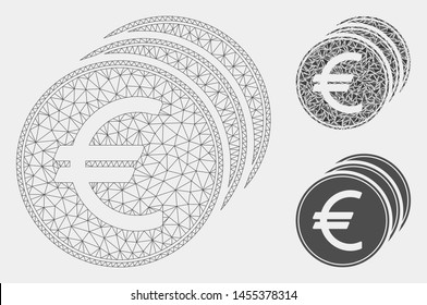 Mesh Euro coins model with triangle mosaic icon. Wire carcass triangular mesh of Euro coins. Vector mosaic of triangle parts in variable sizes and color tones. Abstract flat mesh Euro coins,