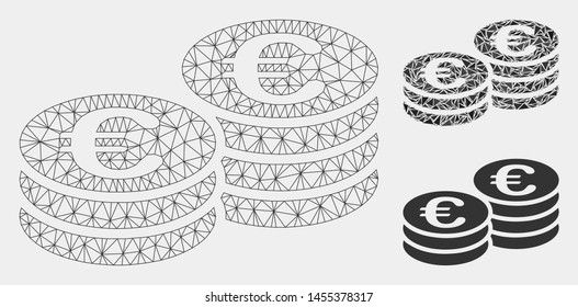Mesh Euro coins model with triangle mosaic icon. Wire frame triangular mesh of Euro coins. Vector mosaic of triangle elements in variable sizes and color tints. Abstract 2d mesh Euro coins,