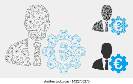 Mesh Euro economist model with triangle mosaic icon. Wire frame polygonal mesh of Euro economist. Vector mosaic of triangles in various sizes and color tinges. Abstract flat mesh Euro economist,
