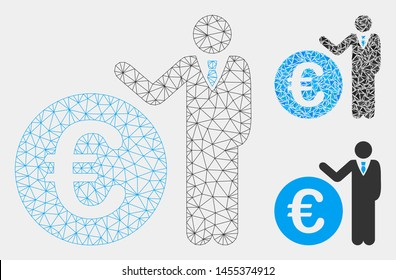 Mesh Euro economist model with triangle mosaic icon. Wire frame triangular mesh of Euro economist. Vector mosaic of triangle elements in different sizes and color tints.