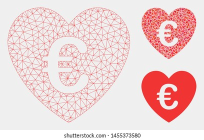 Mesh Euro love heart model with triangle mosaic icon. Wire carcass triangular mesh of Euro love heart. Vector mosaic of triangles in variable sizes and color hues. Abstract 2d mesh Euro love heart,