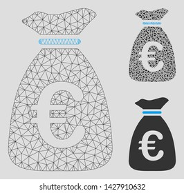 Mesh Euro money bag model with triangle mosaic icon. Wire frame polygonal mesh of Euro money bag. Vector collage of triangle elements in variable sizes, and color tones.