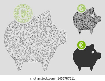Mesh Euro piggy bank model with triangle mosaic icon. Wire frame polygonal mesh of Euro piggy bank. Vector mosaic of triangles in variable sizes, and color tinges. Abstract 2d mesh Euro piggy bank,