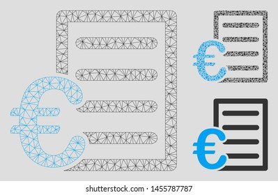 Mesh Euro pricelist model with triangle mosaic icon. Wire frame triangular mesh of Euro pricelist. Vector mosaic of triangle parts in different sizes, and color tinges.