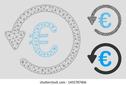 Mesh Euro rebate model with triangle mosaic icon. Wire frame polygonal mesh of Euro rebate. Vector mosaic of triangle elements in variable sizes, and color shades. Abstract 2d mesh Euro rebate,