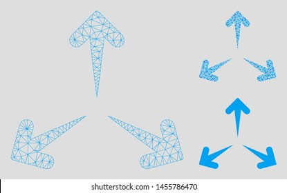 Mesh expand arrows model with triangle mosaic icon. Wire frame polygonal mesh of expand arrows. Vector mosaic of triangle parts in variable sizes, and color hues. Abstract flat mesh expand arrows,
