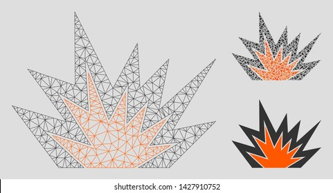 Mesh explosion boom model with triangle mosaic icon. Wire carcass polygonal mesh of explosion boom. Vector composition of triangles in variable sizes, and color tints. Abstract 2d mesh explosion boom,