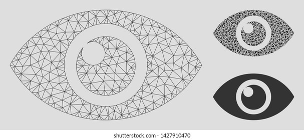 Mesh eye model with triangle mosaic icon. Wire carcass polygonal mesh of eye. Vector mosaic of triangles in various sizes, and color tints. Abstract 2d mesh eye, designed with polygonal grid.