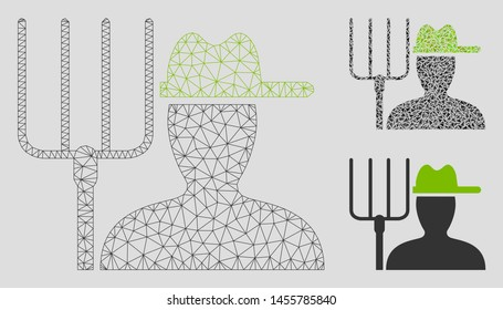 Mesh farmer with pitchfork model with triangle mosaic icon. Wire frame triangular mesh of farmer with pitchfork. Vector mosaic of triangle parts in various sizes, and color tinges.