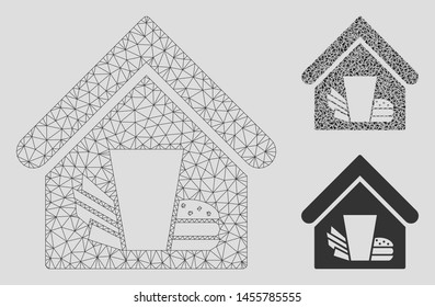Mesh fastfood cafe model with triangle mosaic icon. Wire frame triangular mesh of fastfood cafe. Vector mosaic of triangle parts in different sizes, and color tones. Abstract 2d mesh fastfood cafe,