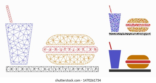 Mesh fastfood model with triangle mosaic icon. Wire frame polygonal mesh of fastfood. Vector collage of triangle elements in various sizes, and color tones. Abstract flat mesh fastfood,