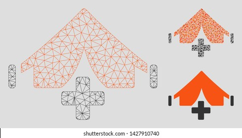 Mesh field hospital model with triangle mosaic icon. Wire carcass polygonal network of field hospital. Vector mosaic of triangle parts in variable sizes, and color hues.