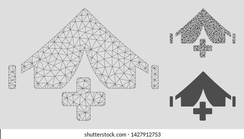 Mesh field hospital model with triangle mosaic icon. Wire carcass triangular mesh of field hospital. Vector mosaic of triangle parts in variable sizes, and color tints.
