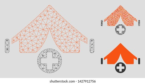 Mesh field hospital model with triangle mosaic icon. Wire carcass triangular mesh of field hospital. Vector mosaic of triangles in variable sizes, and color tones. Abstract flat mesh field hospital,