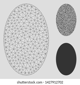 Mesh filled ellipse model with triangle mosaic icon. Wire frame triangular mesh of filled ellipse. Vector collage of triangle elements in different sizes, and color hues.